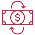 red icon of a dollar bill with arrows around it