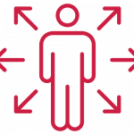 red icon of person with arrows around them